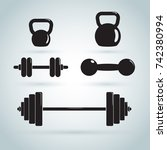 dumbbells and kettlebells... | Shutterstock .eps vector #742380994