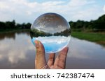 crystal ball display a clear... | Shutterstock . vector #742387474