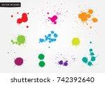 colorful paint splatters.paint... | Shutterstock .eps vector #742392640