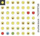 emoticons  emoji  smiley filled ... | Shutterstock .eps vector #742399768