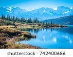 denali national park and wonder ... | Shutterstock . vector #742400686