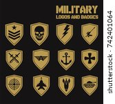 military army like badges white ... | Shutterstock .eps vector #742401064