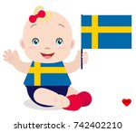 smiling baby toddler  girl... | Shutterstock .eps vector #742402210