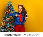 festive season. happy stylish... | Shutterstock . vector #742410214