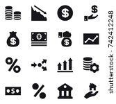 16 vector icon set   coin stack ...   Shutterstock .eps vector #742412248