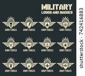 military logos icons  badges... | Shutterstock .eps vector #742416883