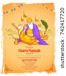 illustration of happy gurpurab  ... | Shutterstock .eps vector #742417720