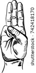 scouting salute hand drawing | Shutterstock .eps vector #742418170