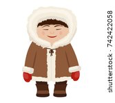 eskimo man in traditional snow...