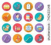 veterinary care icon set.... | Shutterstock .eps vector #742422148