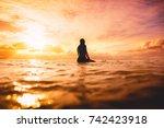surf girl in ocean at sunset or ...   Shutterstock . vector #742423918