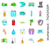 carefree life icons set.... | Shutterstock .eps vector #742424209