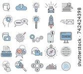 social media marketing icons... | Shutterstock .eps vector #742424398