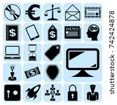 set of 22 business high quality ... | Shutterstock .eps vector #742424878