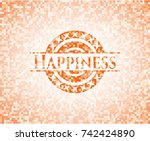 happiness orange mosaic emblem... | Shutterstock .eps vector #742424890