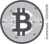 bitcoin flat icon isolated on... | Shutterstock .eps vector #742425658