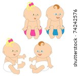 two cute babies in different... | Shutterstock .eps vector #74242576