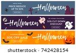 halloween sale banner... | Shutterstock .eps vector #742428154
