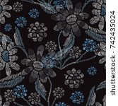 elegant seamless pattern with... | Shutterstock . vector #742435024