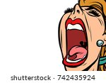 woman screaming  isolated on... | Shutterstock .eps vector #742435924