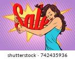 woman hugging sales  love to... | Shutterstock .eps vector #742435936