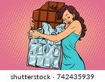 woman hugs chocolate  love... | Shutterstock .eps vector #742435939