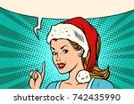 santa woman pointing finger | Shutterstock .eps vector #742435990