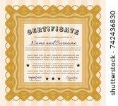 orange diploma or certificate... | Shutterstock .eps vector #742436830