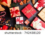 christmas presents on dark... | Shutterstock . vector #742438120