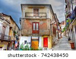 the old town of pizzo calabro... | Shutterstock . vector #742438450