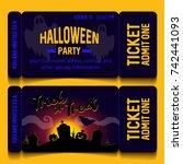 ticket halloween party | Shutterstock .eps vector #742441093