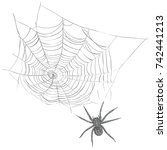 a spider weaves a spider web. ... | Shutterstock .eps vector #742441213