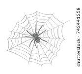 spider weaves a spider web.... | Shutterstock .eps vector #742441258