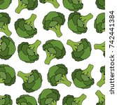 seamless pattern with green... | Shutterstock .eps vector #742441384