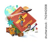 passport with travel and... | Shutterstock .eps vector #742442008