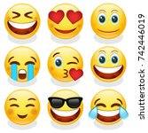 emoji smiley face vector design ... | Shutterstock .eps vector #742446019