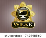 gold shiny badge with monitor... | Shutterstock .eps vector #742448560