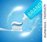 whitening toothpaste ads.... | Shutterstock .eps vector #742451479