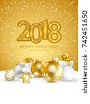 2018 merry christmas and happy... | Shutterstock .eps vector #742451650