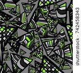 retro geometric  shapes...   Shutterstock .eps vector #742458343