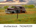 example of an abandoned 1940s... | Shutterstock . vector #742469359