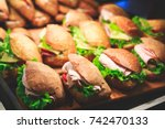 beautifully decorated catering... | Shutterstock . vector #742470133