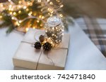 top view.  packing christmas... | Shutterstock . vector #742471840