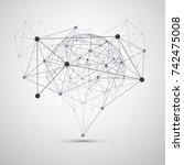 black and white modern minimal... | Shutterstock .eps vector #742475008