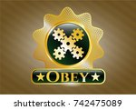 gold shiny badge with... | Shutterstock .eps vector #742475089
