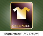 gold badge or emblem with... | Shutterstock .eps vector #742476094