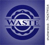 waste badge with denim texture | Shutterstock .eps vector #742479514