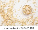 oat flakes in a transparent... | Shutterstock . vector #742481134