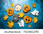 halloween gingerbread cookies   ... | Shutterstock . vector #742481290