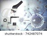 digital image of blue virus... | Shutterstock . vector #742487074